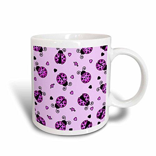 3dRose Love Bugs Purple Ladybug Print with Hearts Ceramic Mug, - Ladybug Love Heart Bug