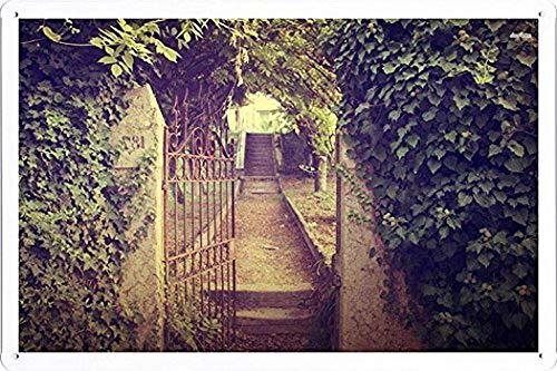 MarinaPolly Open Iron Gate Tin Poster Pub Home Decor Sign 8 x 12 inches