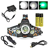 Boruit Headlamp with Green Light –Green Coyote Hog Hunting Light – Green Fishing Head Lamp- Rechargeable, Green Blacklight & Adjustable Perfect Headlights for Camping, Running,Cycling, Caving