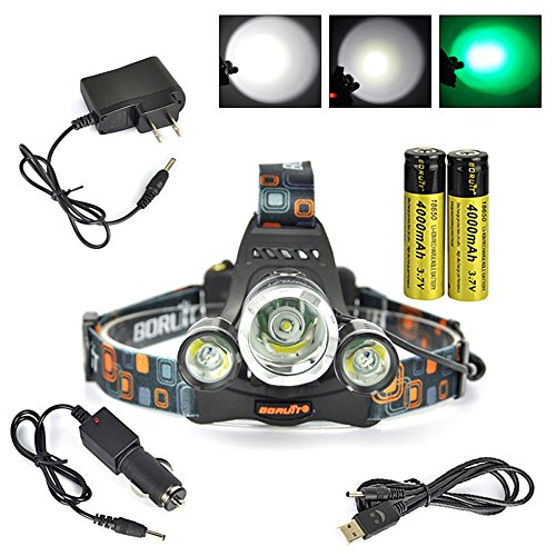 Boruit® Headlamp with Green Light –Green Coyote Hog Hunting Light – Green Fishing Head Lamp- Rechargeable, Green Backlight & Adjustable Perfect Headlights for Camping, Running,Reading,Cycling, Caving