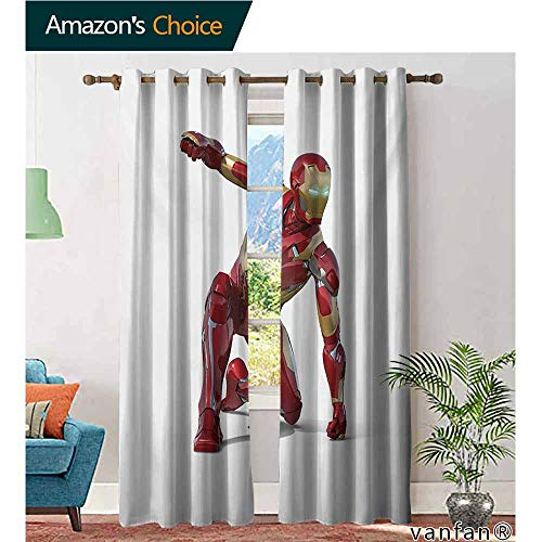 Big datastore Pattern DIY Available Curtain,SuperheroRobot Transformer Hero with Superpower in Costume Cyber Man Fun Character Print,with Solid Grommet Top,White Maroon,W84 xL96]()