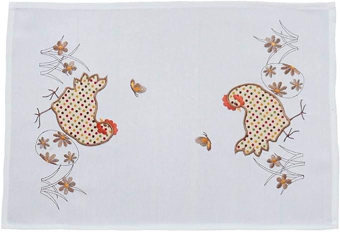 matches21 - Camino de Mesa con diseño de Gallo y gallina, Bordado y aplicación, 35 x 50 cm, Color Beige y marrón: Amazon.es: Juguetes y juegos