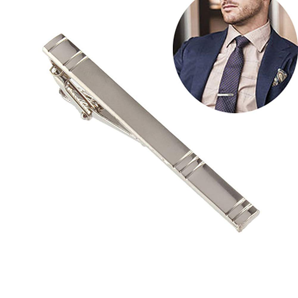 Infgreate Stylish Business And Durable Formal Men's Fashion Alloy Metal Silver Simple Necktie Tie Pin Bar Clasp Clip
