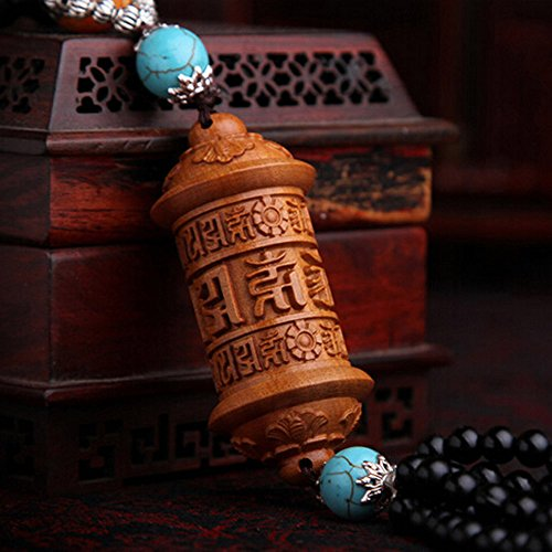 PureaquHandmade Traditional Safty Buddha Dragon Car Key Pendant Carving Car Rear Mirror Hanging Ornament Wooden Muslim Wooden Accessory Decoration Gift Automotive Interiors Car Decoration 1PCS by pureaqu