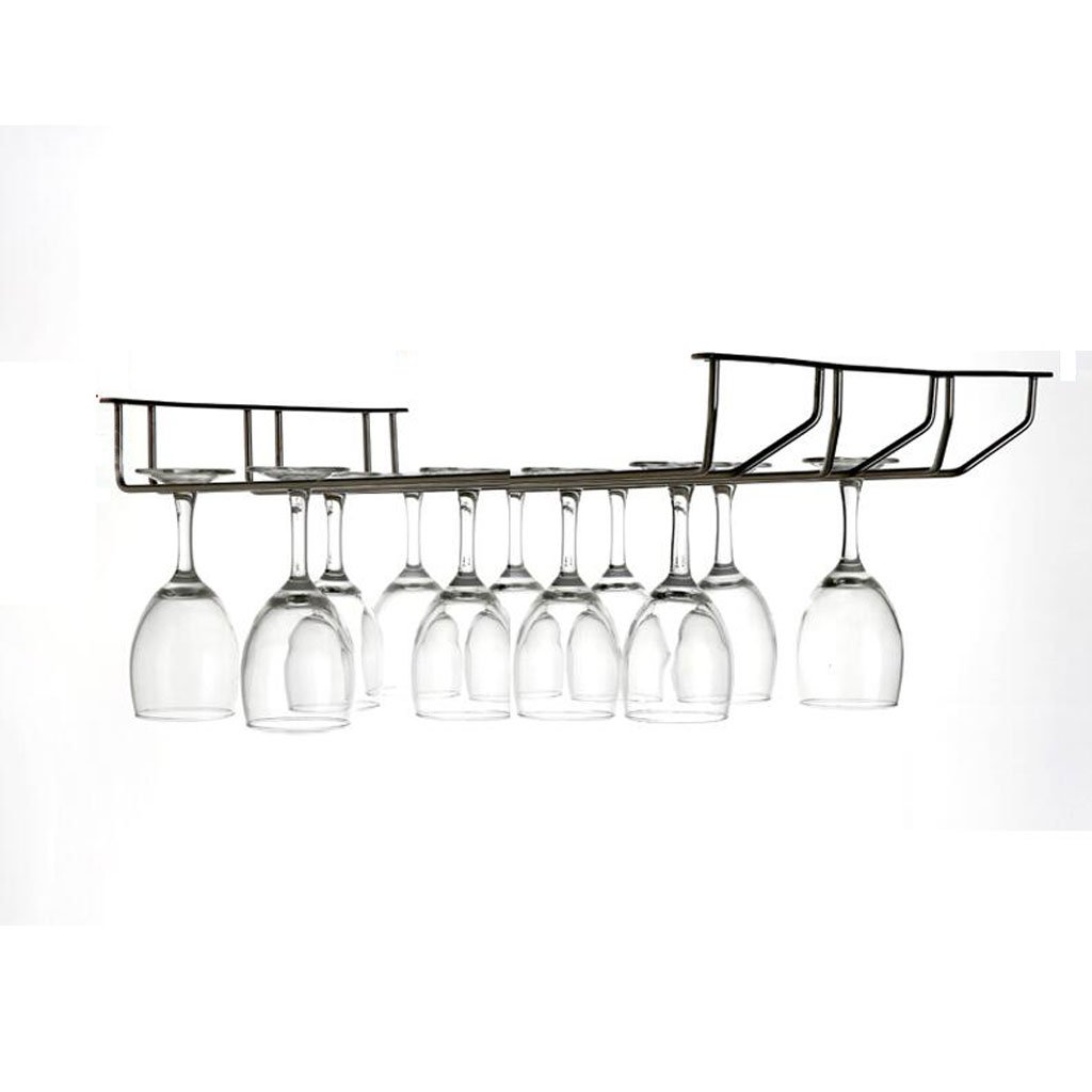 Mobeka 55cm Wine Glass Rack Goblet Rack Stainless Steel Wine Stemware Holder Home Modern Minimalist Hanging Bar Under Cabinet (Size : 3)