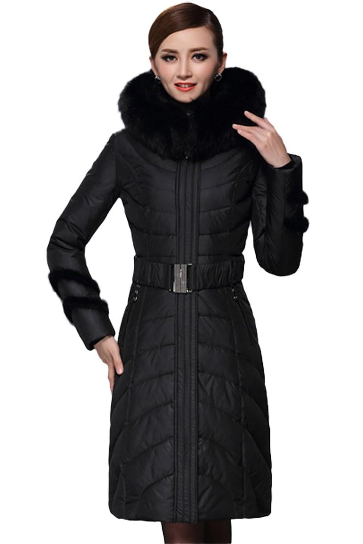 queenshiny Damen Lange Daunenjacke Mantel mit Fuchs Pelz kragen mit Kapuze Winter
