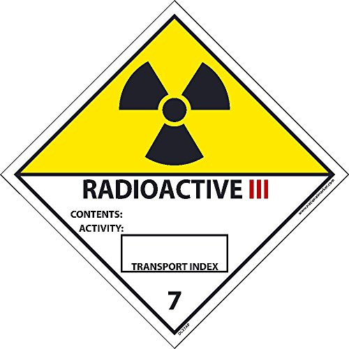 DL27ALV National Marker Dot Shipping Label, Radioactive III, 7, , 4 Inches x 4 Inches, Ps Vinyl 500/Roll by National Marker