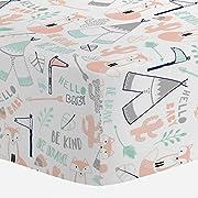 Carousel Designs Peach Brave Fox Crib Sheet - Organic 100% Cotton Fitted Crib Sheet - Made in The USA