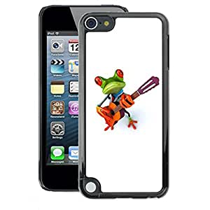 A-type Arte & diseño plástico duro Fundas Cover Cubre Hard Case Cover para Apple iPod Touch 5 (Music Frog Guitar Instrument)