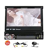 2016 EinCar DVD CD Player for Vehicle Single Din Digital Media Receiver with Bluetooth and Motorized Flip-Up 7-inch LCD Touch Screen 1 Din in Dash Car Stereo with Wireless Rearview Camera