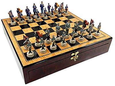 "US American Civil War Chess Set W/ 17"" High Dark Walnut & Birdseye Maple Color Gloss Storage Board"