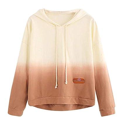 FimKaul Womens Colorblock Tie Dye Hoodie Sweatshirt Print Pullover Shirt Long Sleeve Blouse Plus Size (