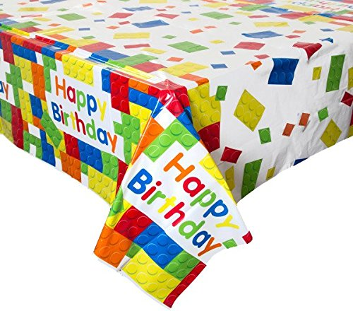 Large and Small Plates Lego Compatible Forks and Spoons Building Block Party Supplies 16 guest Tablecloth Napkins Perfect Tableware for Brick Theme Birthday Parties. Cups Loot Bags