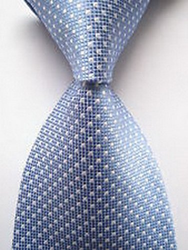 Scott Alain Creation - Neckties Classic Blue and White Square Dot 100% New Jacquard Woven Silk Men's Tie - Square One Stores New