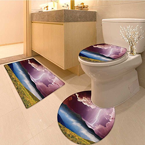 3 Piece Toilet lid cover mat set Sky with Electrica Storm Rays Powerfu Effect on Earth Rura Print Extralong Green Blu Very Absorbent Bathroom Bath Mat Contour Rug