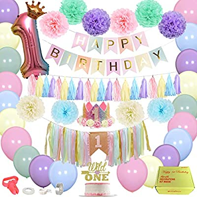 Pink And Purple First Birthday Decorations  from images-na.ssl-images-amazon.com