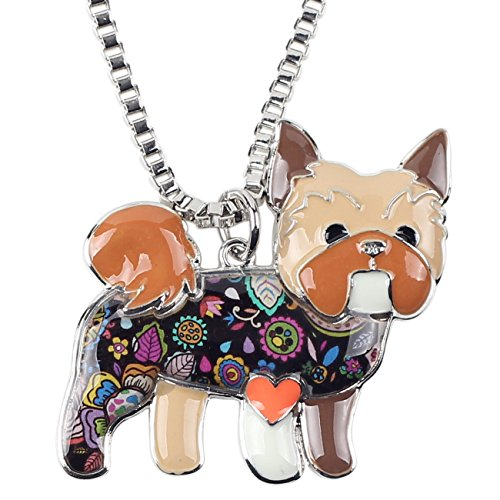 "BONSNY Love Heart Enamel ""FARLEY"" YORSHIRE TERRIER Puppy Yorkie Dog Women Pendant Necklace (Brown)"