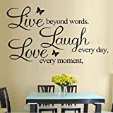 """70*50cm Hot Wall Sticker Butterfly """"Live Love Laugh"""" Proverbs Removable Wall Background Home Decoration Art Diy Wall Decals Picture"""