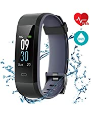 CHEREEKI Pulsera Actividad Pulsera de Actividad Inteligente con Monitor de Calorías, Monitor de Ritmo Cardíaco, IP68 Reloj Fitness Podómetro con 14 Actividad Modalidades para iOS y Android