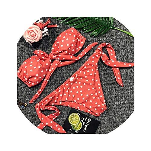 f1015a59959e Strawberries Cake Dot Sexy Bikini Women Bandeau Swimwear Summer Beachwear  Swimsuit Female Print Bikini Set,SF1020-2,M