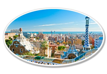 (Barcelona Park Guell View Oval Vinyl Sticker - Car Window Bumper Laptop - SELECT SIZE)