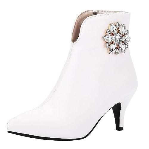 840bd7e16017df Escarpin Femme,Bottes à Lacets en Daim avec Strass à Talons  Hauts,Chaussures à