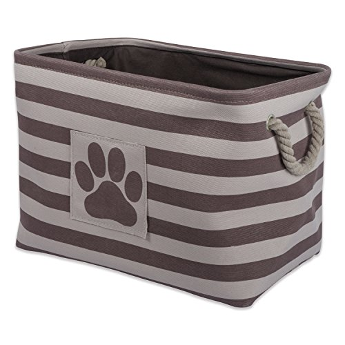 Storage Dog Box Toy (Bone Dry DII Large Rectangle Pet Toy and Accessory Storage Bin, 18x12x15, Collapsible Organizer Storage Basket for Home Décor, Pet Toy, Blankets, Leashes and Food-Brown Stripes)