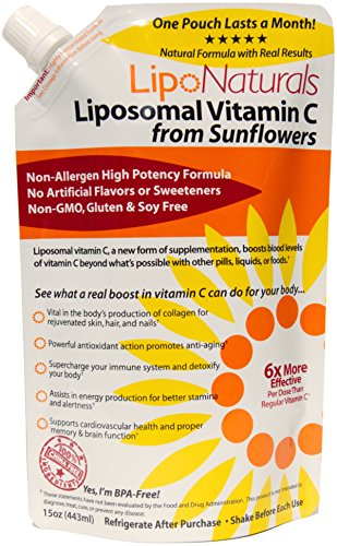 Lipo Naturals Liposomal Vitamin C | China-Free | No Artificial Preservatives | No Soy | 30 Doses (15 Ounces) | Non-GMO | Made in U.S.A | Maximum Encapsulated Vitamin C Bioavailability for Real Results