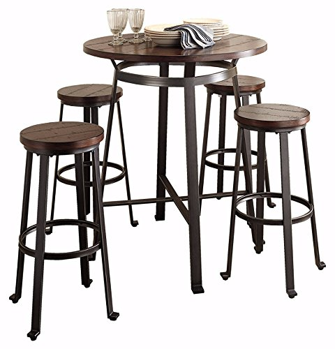 Ashley Furniture Signature Design - Challiman 5 Piece Dining Room Bar Set - Pub Height - Round - Rustic Brown - 4 Stools (With 4 Breakfast Chairs Table)