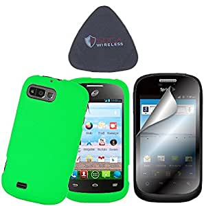 3-in-1 Bundle Combo SOGA® For ZTE Valet Accessories - Neon Green Hard Cover Case with Screen Protector and Pry Triangle Case Removal Tool [SWG455]