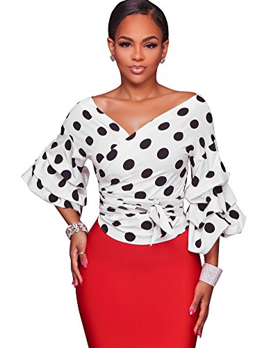 Sleeve Puff Wrap (Romacci Women's Elegant V Neck Wrap Long Puff Sleeve Polka Dots Blouse Shirt Tops With Belt)