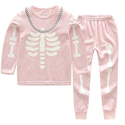 CNBABY Glow in The Night Kids Skeleton Halloween Pajamas Sets Girls Sleepwear Pjs Size 5T
