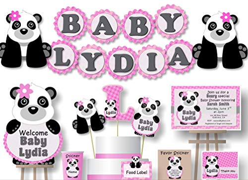 Personalized Panda Baby Shower or Birthday Party Decorations for Girl - Banner with Optional Cake Topper, Centerpiece, Welcome Sign, Favor Tags or Stickers, Thank Yous - Handmade in USA - BCPCustom ()