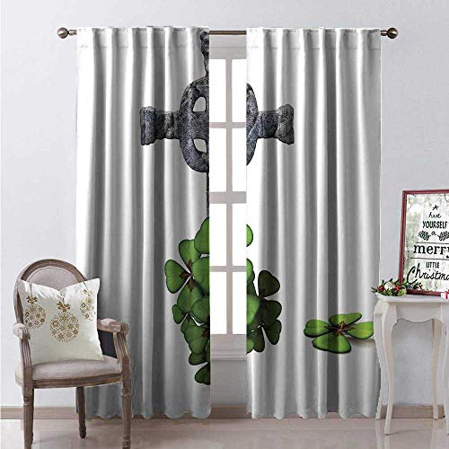 Hengshu Celtic Thermal Insulating Blackout Curtain Celtic Knot Pattern Four Leaf Clover Floral Design Saint Patricks Day Theme Blackout Draperies for Bedroom W84 x L108 Grey Green