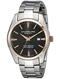 Stuhrling Original Men's 414.334154 Aquadiver Regatta Prime Swiss Quartz Date Rose-Tone Bezel Bracelet Watch