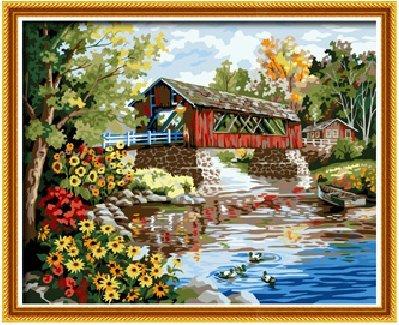 Diy oil painting, paint by number kit- Romantic bridges 1620 inch. by Colour Talk