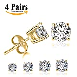 Image of LIEBLICH Round Cut Cubic Zirconia Stud Earrings Stainless Steel Yellow Gold Plated Earrings Set 4 Pairs 3mm-6mm