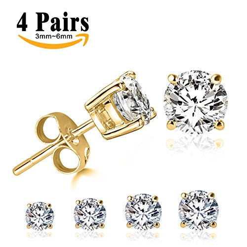 LIEBLICH Round Cut Cubic Zirconia Stud Earrings Stainless Steel Yellow Gold Plated Earrings Set 4 Pairs 3mm-6mm (Earrings Mens Gold)