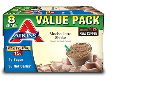 Atkins Ready to Drink Shakes, Mocha Latte, 15g Protein, 3g Net Carbs, 1g Sugar, 11 Ounce, 8 Count (Packaging May Vary)