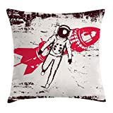 Ambesonne Vintage Throw Pillow Cushion Cover, Retro Space Travel Astronaut Over Planet Earth Original Solar Futuristic Art, Decorative Square Accent Pillow Case, 18 X 18 inches, Hot Pink Maroon