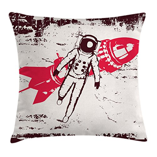 Ambesonne Vintage Throw Pillow Cushion Cover, Retro Space Travel Astronaut Over Planet Earth Original Solar Futuristic Art, Decorative Square Accent Pillow Case, 18 X 18 inches, Hot Pink Maroon by Ambesonne