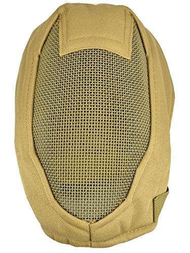 Jadedragon Tactical Airsoft Mask Full Face Mask Steel Mesh Protective Mask For BB Gun/CS Game/Paintball/Hunting(khaki)