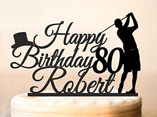 Golfing Cake Topper Golfing Silhouettes Cake Topper 80Th Happy Birthday Cake Topper Golfer Birthday Cake Topper Golfer Party Topper