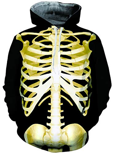 Belovecol Halloween Costumes Hipster Hip Hop Unisex Pullover Hoodies for College University Funny Skull Pattern Hoody Sweatshirts Fleece Loog Sleeve X-Large