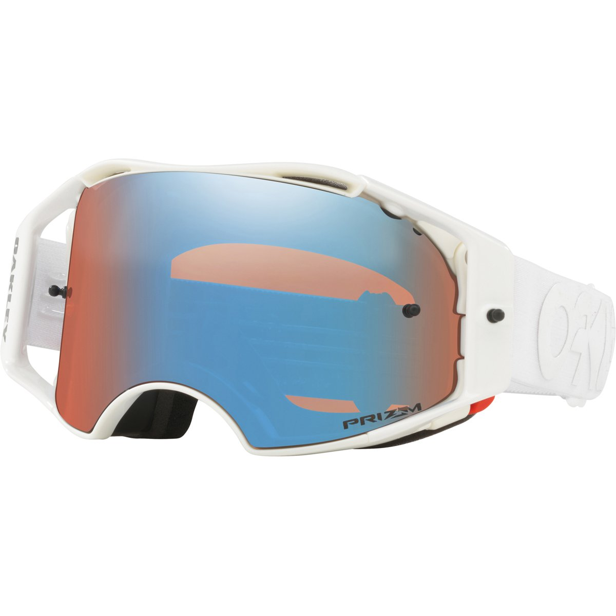 Oakley ABMX FP Whiteout with Prizm MX Sapphire unisex-adult Goggles (White, Medium), 1 Pack