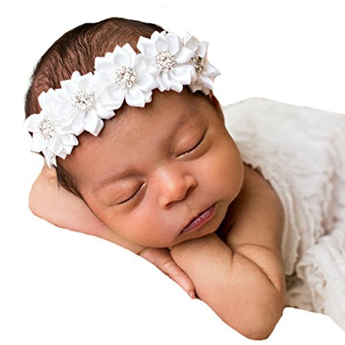 Miugle Baby Baptism Headbands Infant Toddler Christening Headbands Headdress -