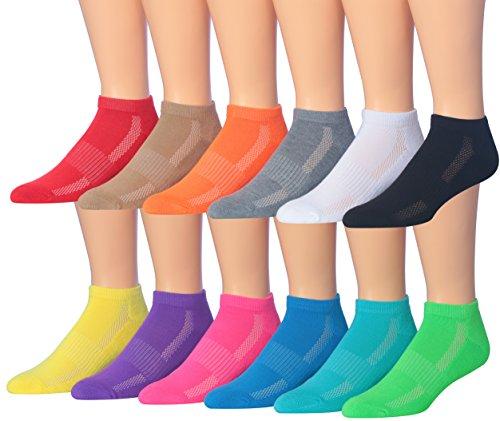 James Fiallo Men's 12 Pairs Low Cut Athletic Sport Peformance Socks, MS12-12
