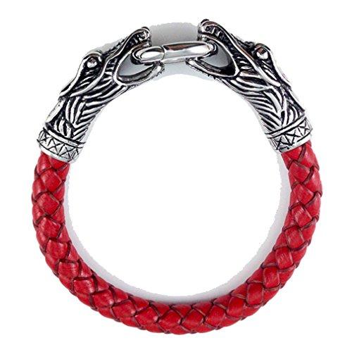 [G&T European Popular Leather Woven Bracelet Mens Titanium Steel Double Dragon Bracelet(C2)] (Man Of Steel Costume Tour)