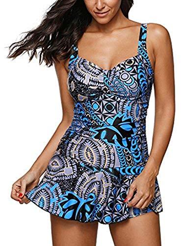 - Century Star Women's One Piece Swimdress Slimming Skirt Swimwear Tummy Control Bathing Suit Boy-Leg Printed Swimsuits A Blue Large (fits Like US 10-12)
