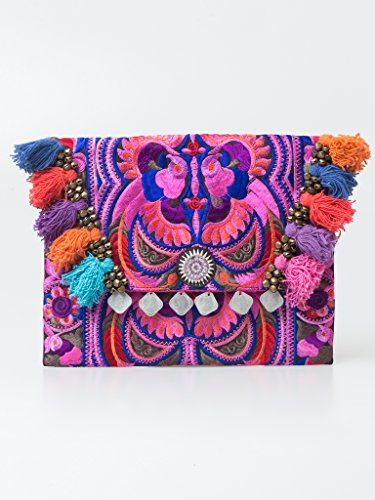 Changnoi Handmade Clutch Ipad Cover with Hmong Embroidered in Pink Fair Trade Thailand by ChangnoiBags